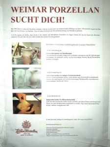 Manufakturen-Blog: Weimar-Porzellan sucht Auszubildende - in Wirklichkeit Mitstreiter (Foto: Wigmar Bressel)