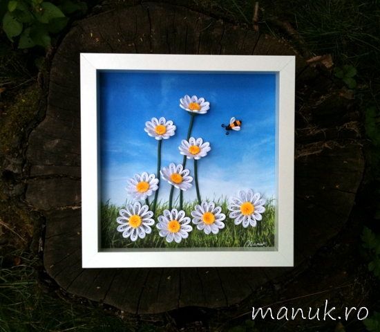 Quilled Daisy Field under a Sunny, Blue Sky
