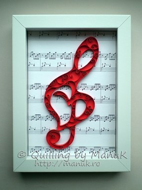 Quilled G Clef in a Shadowbox Frame