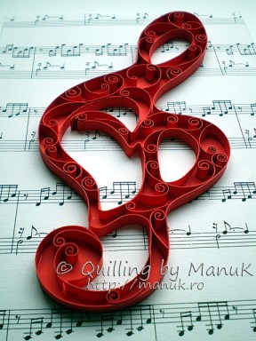 Quilled G Clef Side View