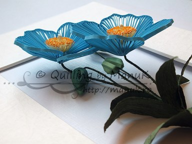Quilled Blue Poppy - Side View