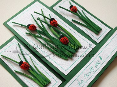 Birthday Greeting Card with Quilled Ladybugs and Grass - Side View