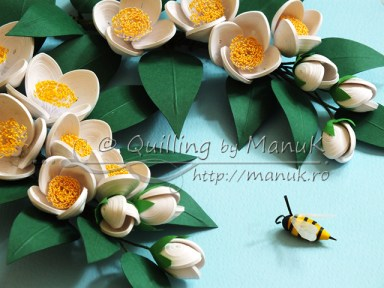 Quilled Jasmine Flowers - Detail