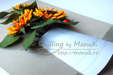 Quilled Sunflowers in a Paper Vase with Ladybug - Side View