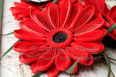 Quilled Gerbera Flowers - Detail