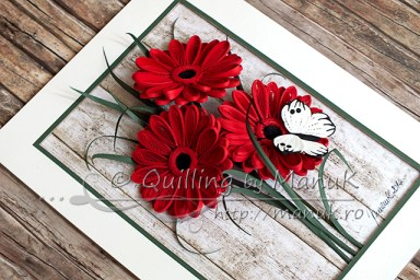 Quilled Gerbera Flowers - Side View