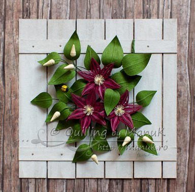 Quilled Clematis Flowers on a White Picket Fence