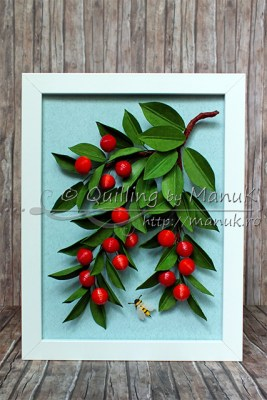 Quilled Cherry Branches in a Shadowbox Frame