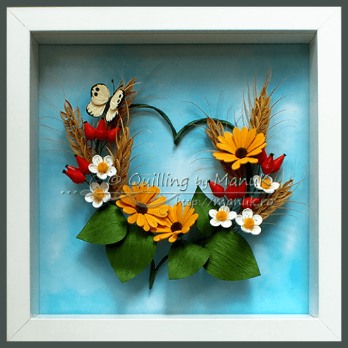 Quilled Summer Heart in a Shadowbox Frame