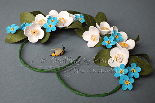 Quilled Jasmines and Forget Me Not Flowers in a Heart - Side View