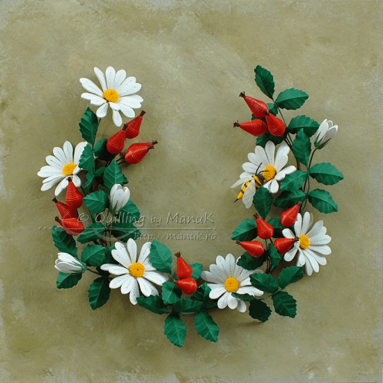 Quilled Daisies and Rose Hip with a Bee