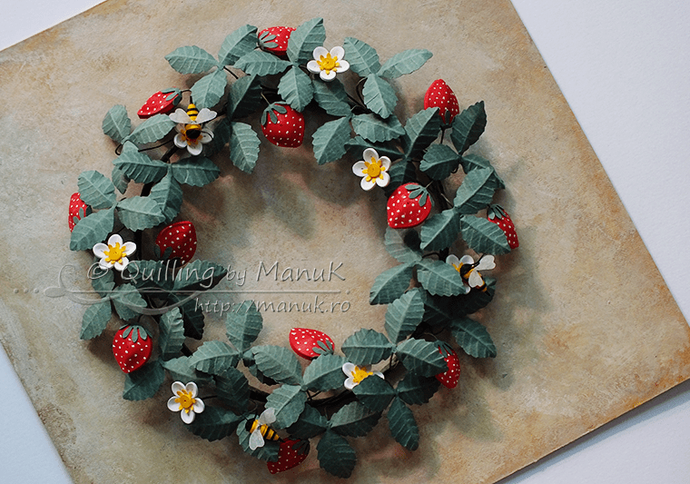 Summer Wreath with Quilled Strawberries and Bees