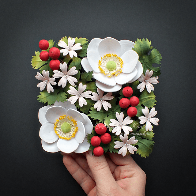 Quilled Anemones and Geranium – Floral Tile II