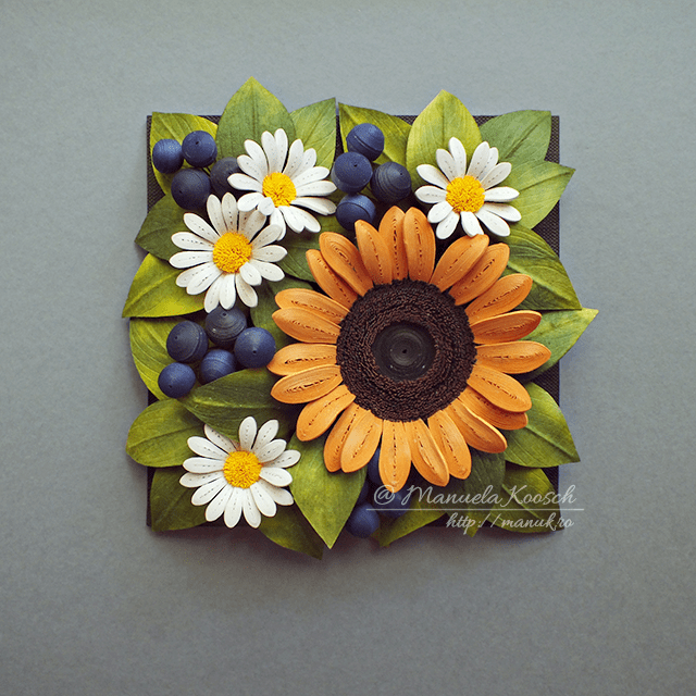 Summer Mood - Quilled Sunflower and Daisies Framed Wall Art