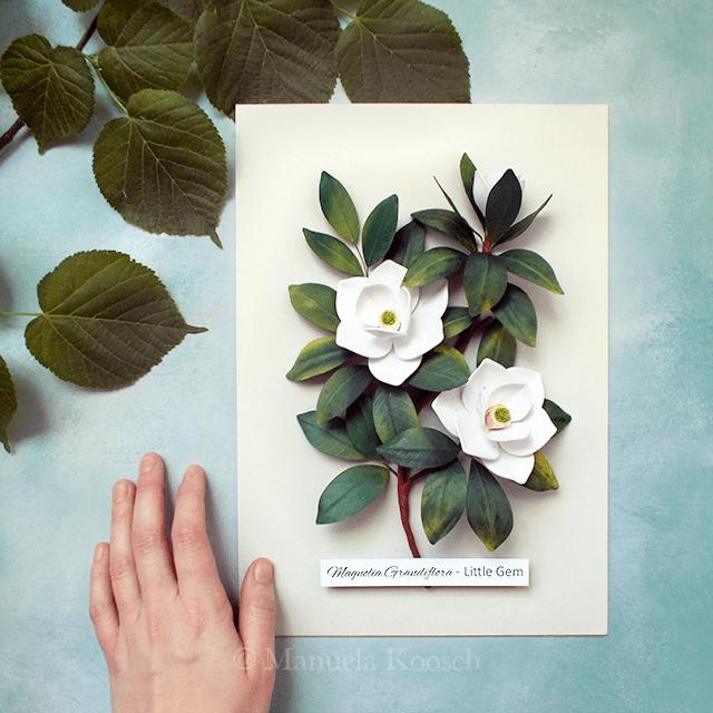 Magnolia Wall Art – Quilling Paper Magnolia Botanical Illustration