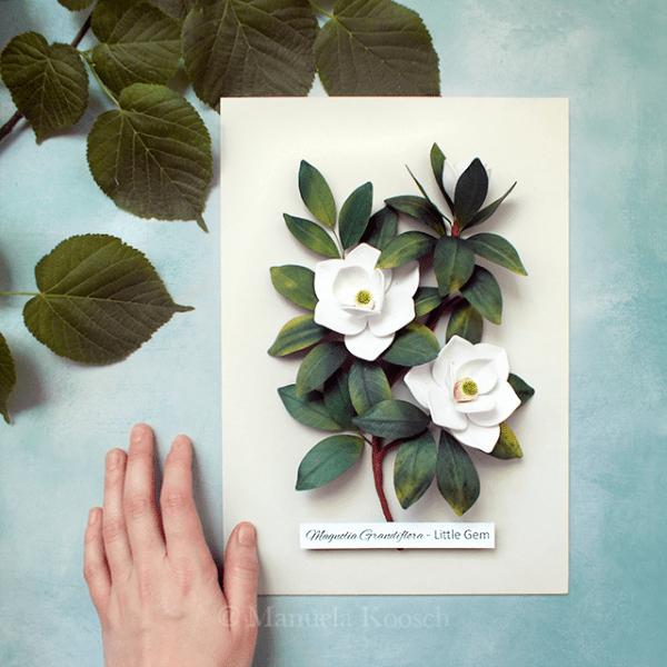 Magnolia Wall Art - Quilling Paper Magnolia Botanical Illustration