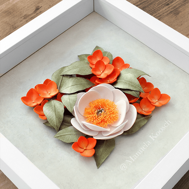 Paper Quilling Peony with Hydrangea Flowers Framed Wall Art