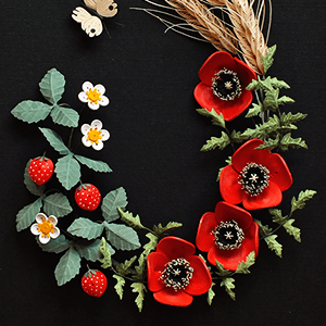 Quilled Poppies, Strawbberies and Wheat - Summer in a Frame