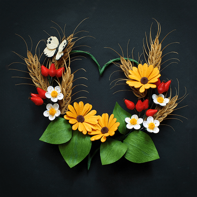 Summer Heart - Quilled Daisies, Rose Hip, Strawberries and Wheat