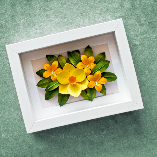Flowers for Gemini - Paper Quilling Yellow Daffodil Azalea Framed Wall Art