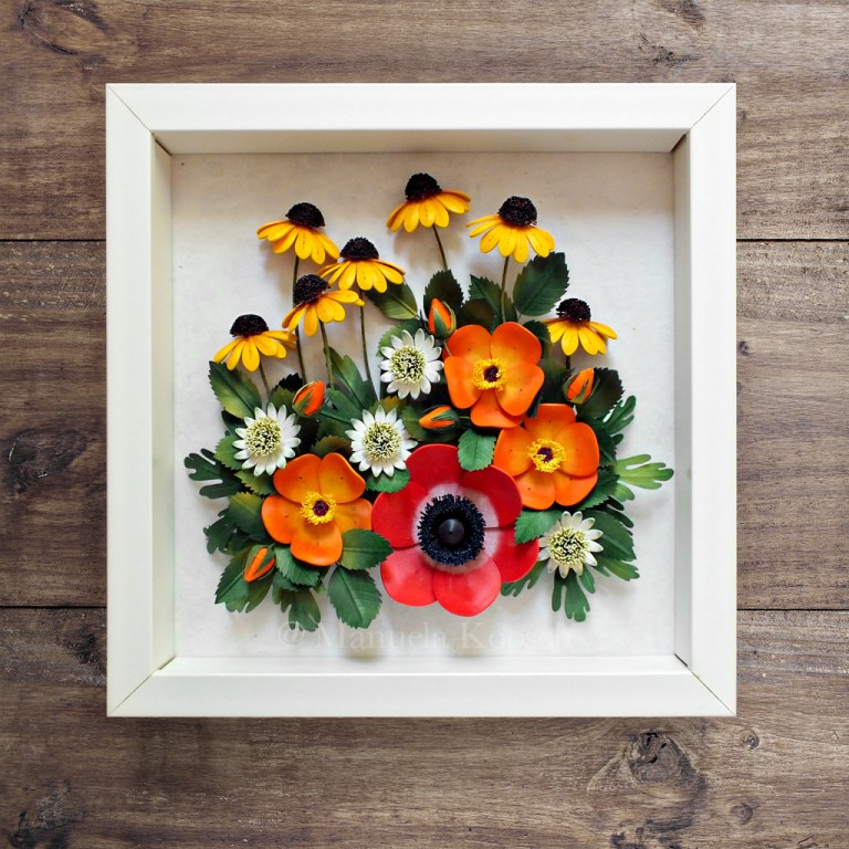 Paper Quilling Anemone, Coneflower, Astrantia and Wild Rose Framed Wall Art