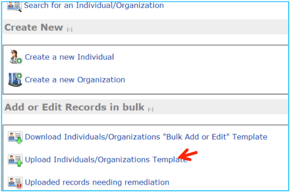 Create Records via the Upload Template - Arrangements ...