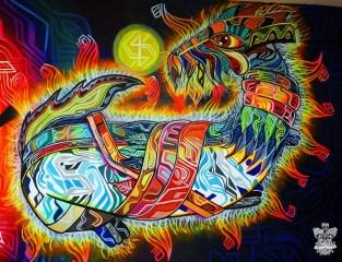 """""""Iluminación""""/ """"Enlightenment"""" fragment Mural at studio 2.40 x 7 meters 2014"""