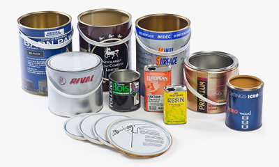 printed containers including printed pails or lever lids and plastic buckets