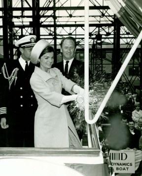 Jackie Kennedy christening the USS Lafayette, 1962