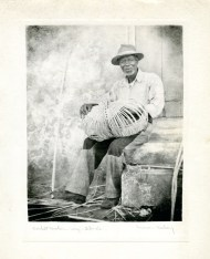 """""""Basket Maker- Virgin Islands"""". Gift of Mrs. Luman P. Kelsey, 1977.93.2 (Inscription on the back of this photo reads """"St. Croix"""".)"""