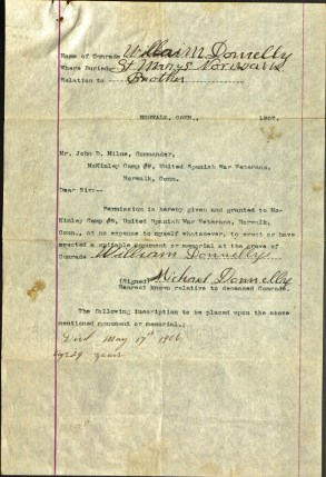 Application for a memorial for Donnelly. Ms 74000.