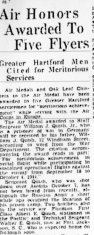 Quish was among five airmen awarded medals in March 1945 according to this article in the Hartford Courant.