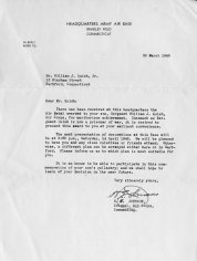 Letter to Quish's father announcing awarding of the Air Medal, 1945
