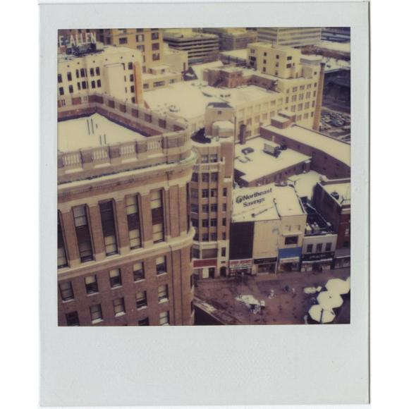 The top of the Hartford-Aetna Bank Building on the left. Richard Welling. 2012.284.86