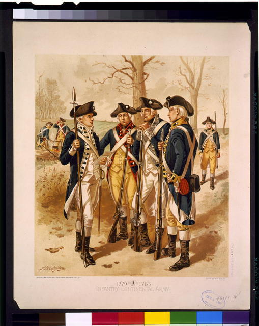 Example of Revolutionary War uniforms, from the Library of Congress.