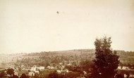 Another photographer captured Moore and Doughty's balloon rising over Winsted on October 16, 1885. CHS X.2000.20.6