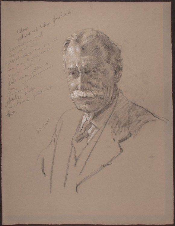 Deane Keller sketched this charcoal portrait of Horace D. Taft in1938. CHS 1981.129.0