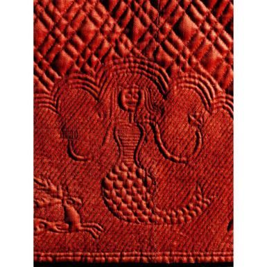 The lion image includes Sarah's initials, and the griffin/leopard has the date. The trend of creating and wearing such elaborate quilted petticoats was not wide spread, and seems to be a distinctive, localized production associated with Southeastern Connecticut.
