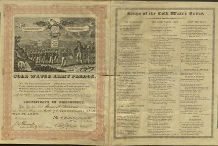 """Taking the pledge as part of the efforts of the children's """"Cold Water Army"""" meant swearing off alcohol in any form. This pledge dates to ca. 1845. CHS Ms 73428"""