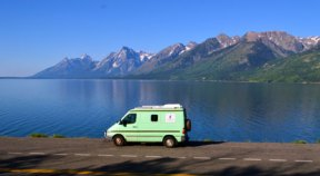 the camper van in a majestic setting—to read more about Ron and Cleo's adventures, visit Ron's blog at http://ronaldtanner.com/blog/category/custom-camper-van/.