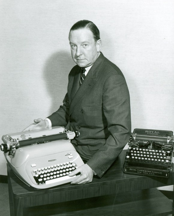"Royal Typewriter Publicity Photograph, 1962. Gift of Edward Belsho, Connecticut Historical Society collection. Typed on the back of the photograph: ""Fortune P. Ryan, President of Royal McBee Corp. is shown with new Royal manual typewriter in 1962. Its 40-year predecessor is at right."""