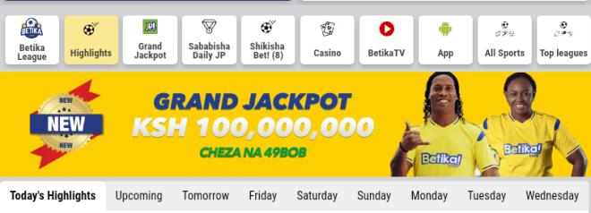 Betika grand jackpot 100M predictions