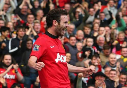 Juan Mata scores his first goal for Manchester United, the third against Aston Villa