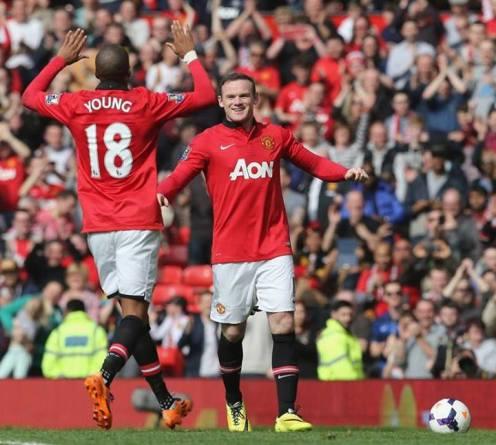 Rooney scoring the second against Aston Villa