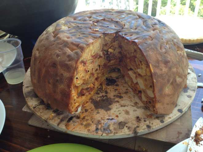 The finished Big Night Timpano, stanley tuck, timbale