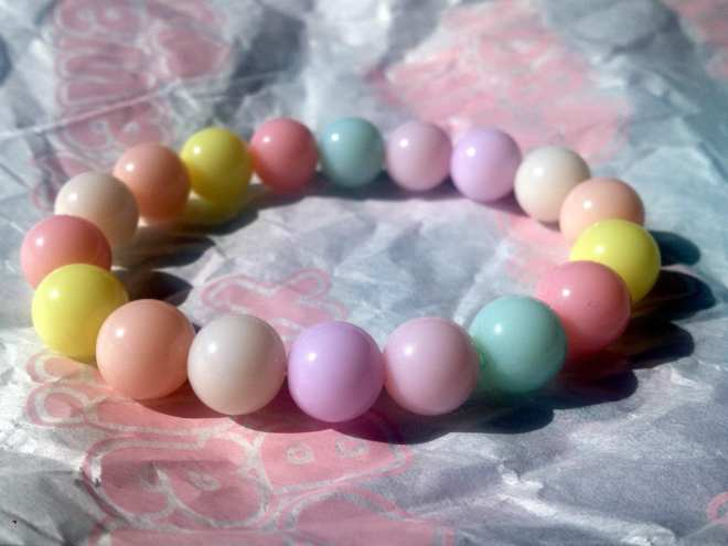 My daughter liked this stringed collection of pastel balls as well.