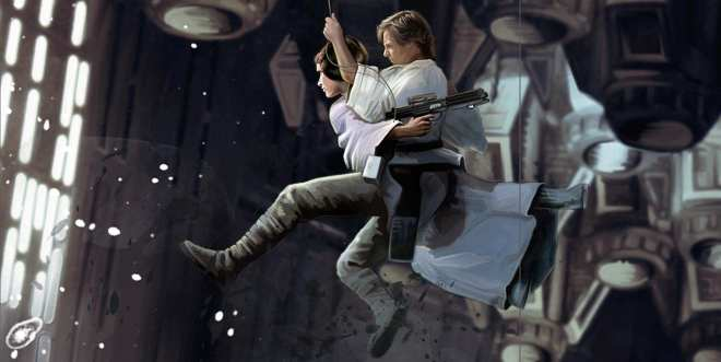 Star Wars Treasury: The Original Trilogy, Luke and Leia swing across chasm in death star, Luke Skywalker, Princess Leia, star wars kids book, Star Wars digital art