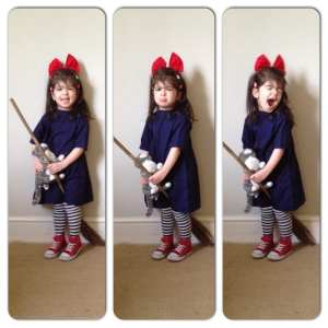 Little Girl Dressed as Kiki, Kiki cosply, Studio Ghibli cosplay