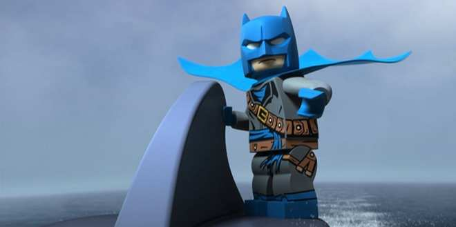 Pirate Batman riding a shark