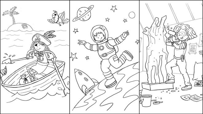 Just 3 of the inspirational illustrations to colour in - a girl being a pirate, astronaut, and sculptor.